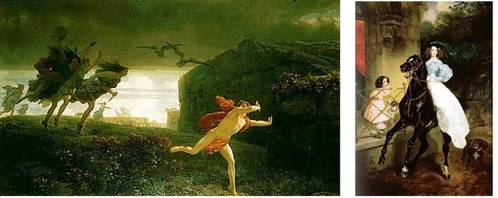 Это грустная история Пенфей, царь Фив, не приносил жертв Дионису, и его в приступе насланного богом безумия разорвали собственные мать и тётки. (700x279, 85Kb)