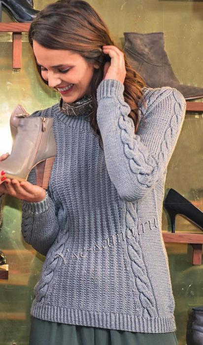 Seryi-pulover-s-kosami-na-rukave (412x700, 359Kb)