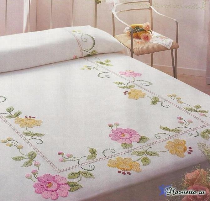Цветочная вышивка для скатерти или покрывала. Схема (1) (670x641, 348Kb)