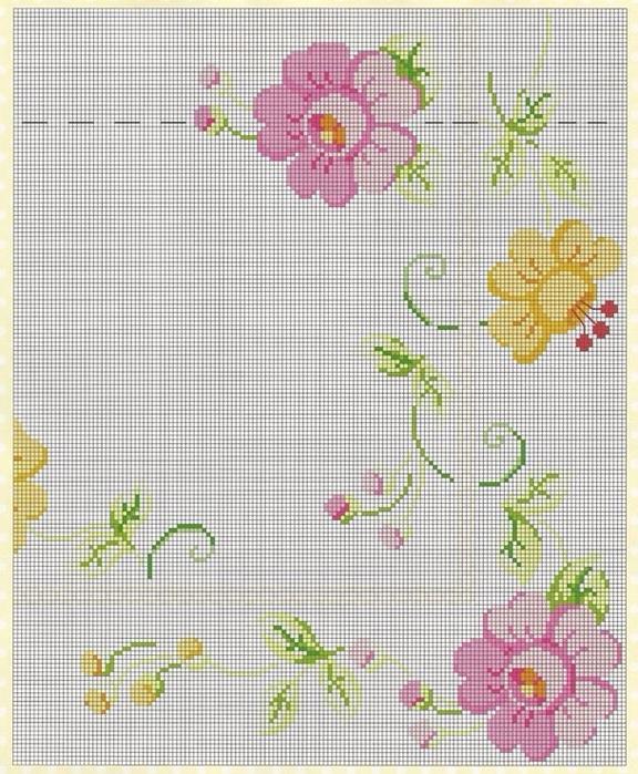 Цветочная вышивка для скатерти или покрывала. Схема (4) (576x700, 486Kb)