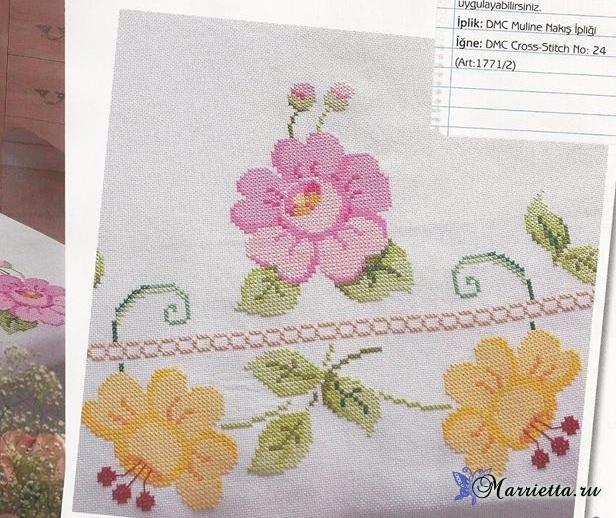 Цветочная вышивка для скатерти или покрывала. Схема (5) (616x518, 333Kb)