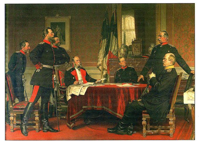 Германская штаб-квартира в Версале. Слева-направо Блюменталь, наследный принц Фридрих, Верди дю Вернуа, Вильгельм I, Мольтке, Роон, Бисмарк (700x490, 151Kb)