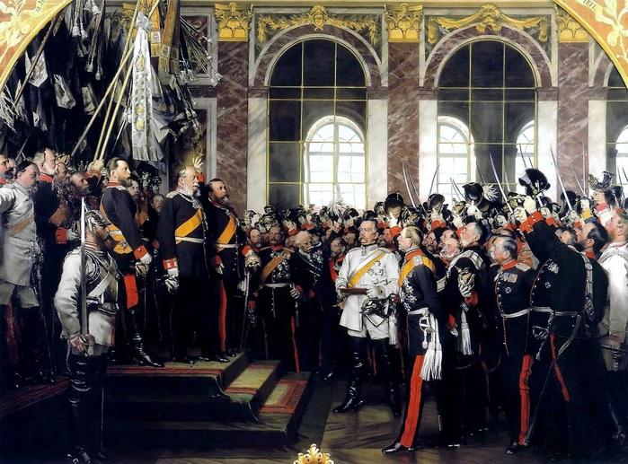Торжественная церемония провозглашения Вильгельма I германским императором в Версале. В центре (в белом мундире) изображен О. фон Бисмар (700x517, 177Kb)
