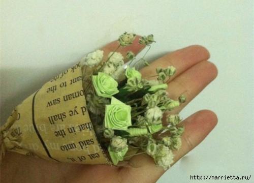 Миниатюрные букетики цветов из бумаги (2) (500x360, 96Kb)