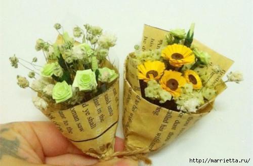 Миниатюрные букетики цветов из бумаги (7) (500x328, 94Kb)