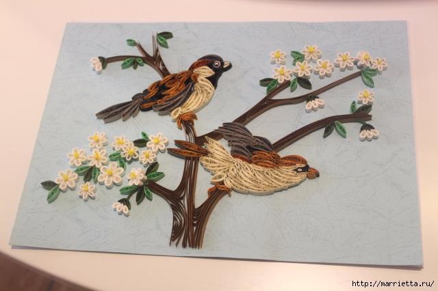 Панно с цветущим деревом и птицами в технике квиллинг (3) (640x426, 167Kb)