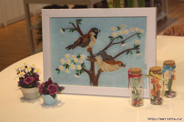 Панно с цветущим деревом и птицами в технике квиллинг (5) (640x426, 168Kb)