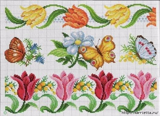 Вышиваем розы на скатерти и салфетках. Схемы (16) (526x382, 162Kb)