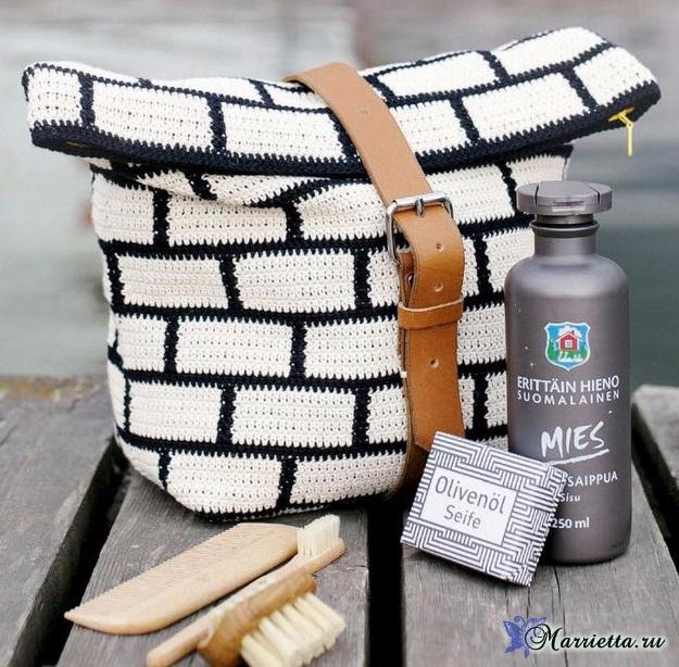 Белые кирпичи на сумочке. Вязание крючком (2) (625x614, 390Kb)