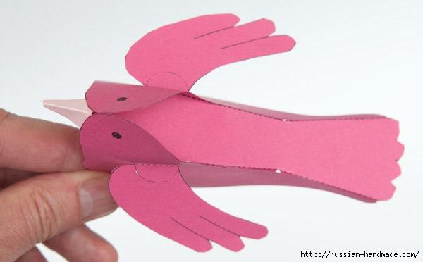 Птичка из бумаги. Шаблон (8) (600x372, 69Kb)