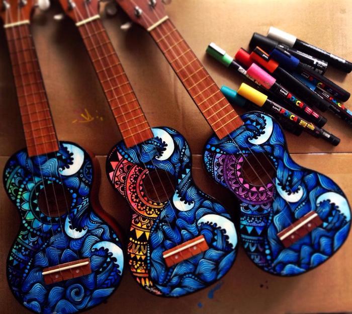 росписные музыкальные инструменты Lauren Swan 8 (700x624, 534Kb)