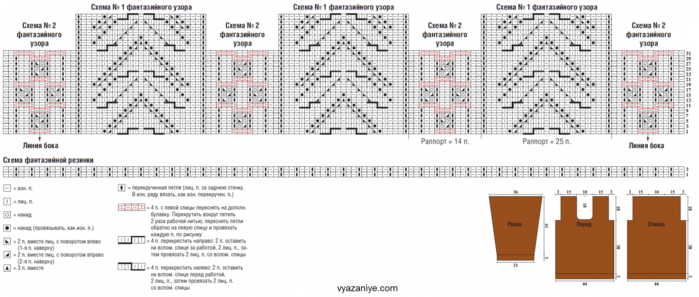Схема вязания фантазийного узора с описанием