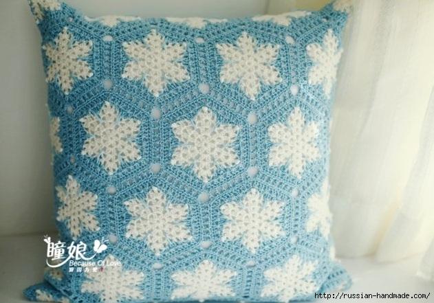 Вяжем крючком подушку со снежинками (1) (631x441, 191Kb)