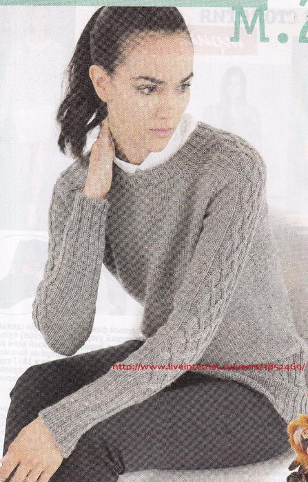 Пуловер  с узором на рукавах (447x700, 420Kb)
