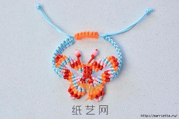 Макраме. Плетение браслета с бабочкой (1) (589x392, 141Kb)