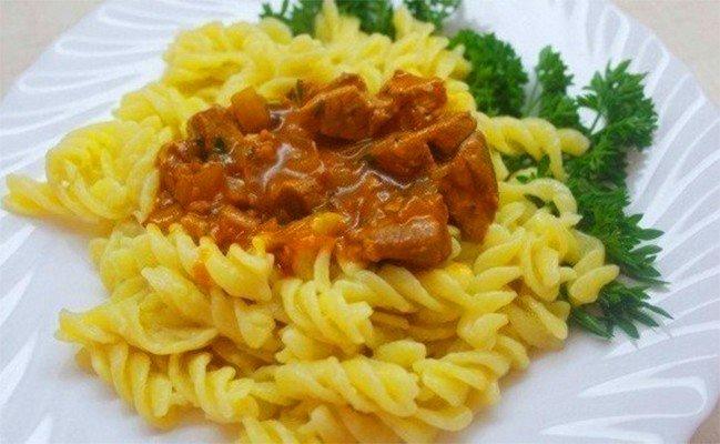 Макароны с подливкой с мясом рецепт с пошагово