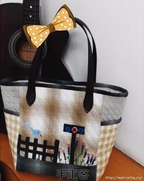 Лоскутная сумочка с птичкой и лавандой. Шьем сами (1) (469x588, 143Kb)