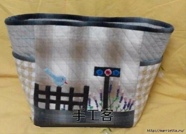 Лоскутная сумочка с птичкой и лавандой. Шьем сами (17) (602x432, 126Kb)
