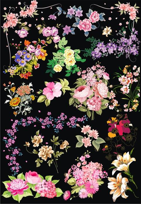 Цветы: рисованный клипарт на прозрачном фоне, 57 png.