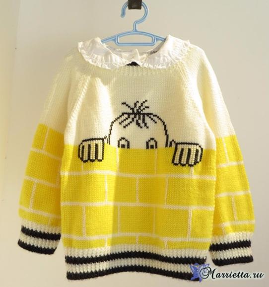 Прикольный детский пуловер спицами (3) (542x578, 254Kb)