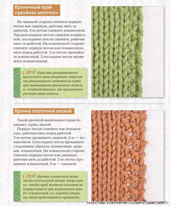 Кромочные петли и варианты их вязания 263
