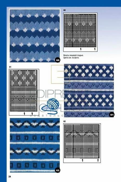 Орнаменты полосок при вязании спицами