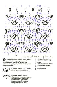 shema-vjazanija-shapki-uzorom-rakushki (198x300, 72Kb)