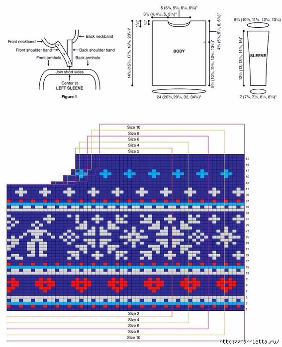 Детский пуловер спицами жаккардовым узором (3) (567x700, 245Kb)