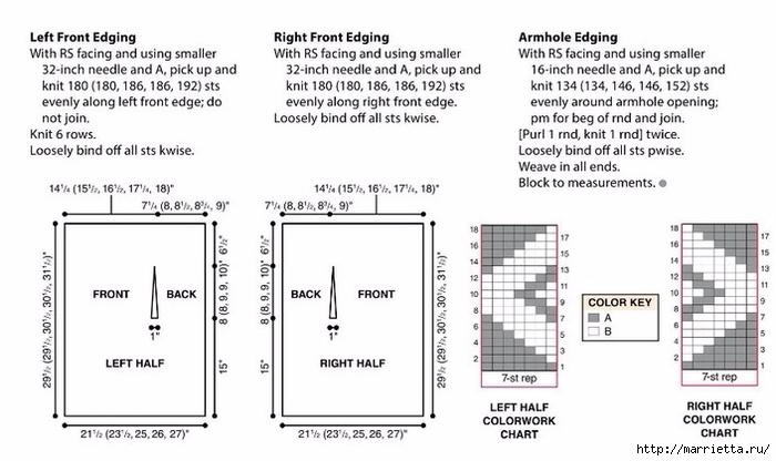 Красивый жилет геометрическим узором меланжевой пряжей (4) (700x416, 167Kb)