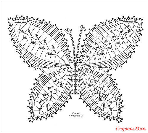 Бабочки вязания крючком