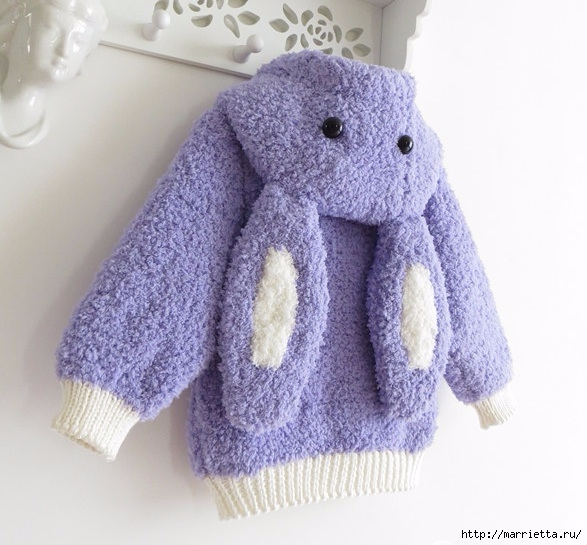 Вязание детской курточки с капюшоном с ушками кролика (16) (587x545, 191Kb)