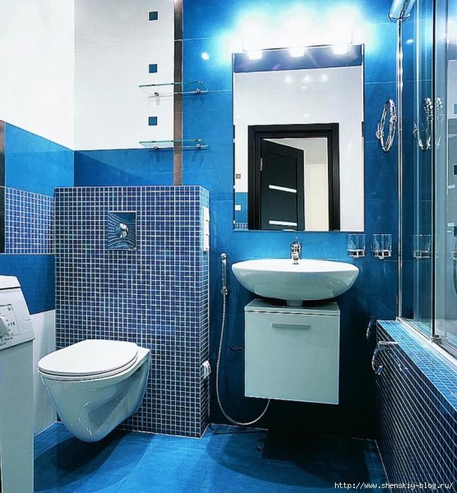 Дизайн синей комнаты с синим унитазом