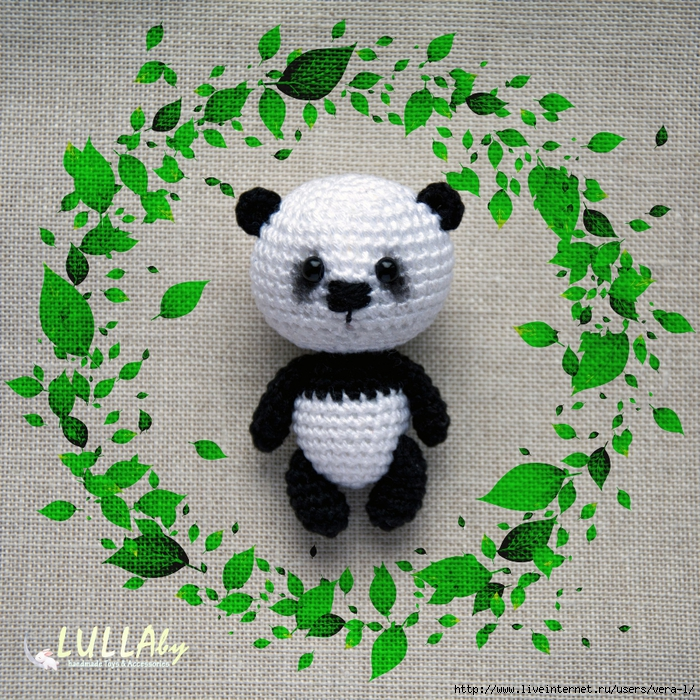 Вязание игрушки панды крючком 64