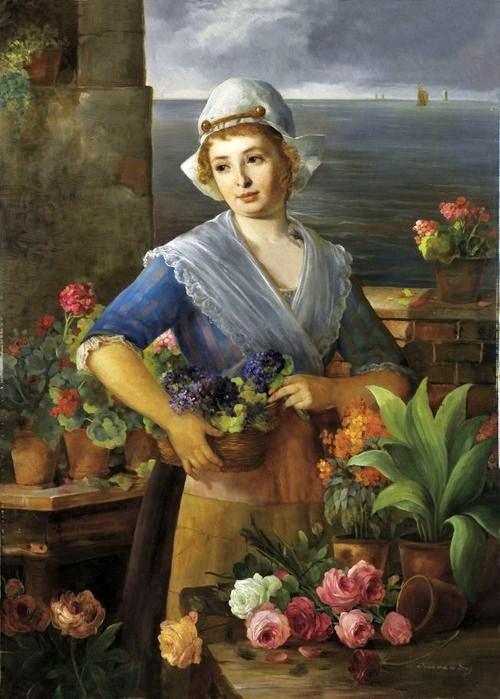 Jean von de Brug (19th-Century Dutch artist) Flower Seller (700x900, 78Kb)