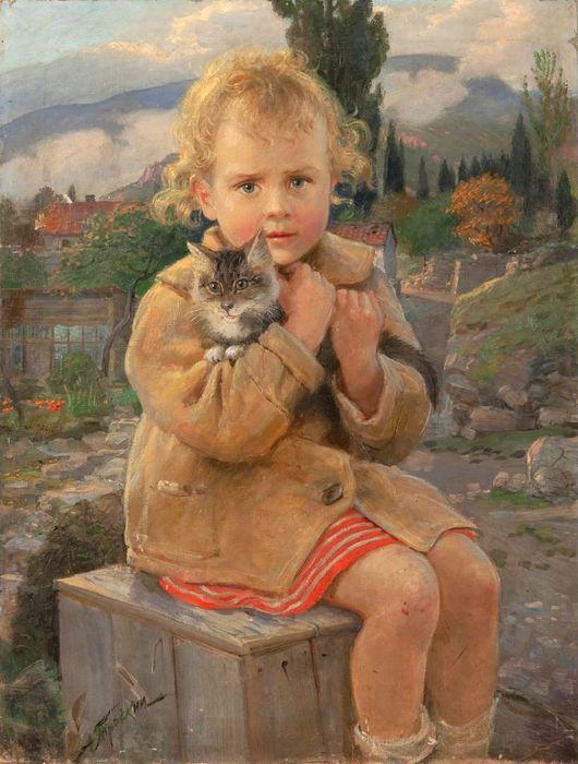 Трескин-Анатолий-Владимирович-1905-1996-«Девочка-с-котенком-Ганночка»(1) (530x700, 67Kb)
