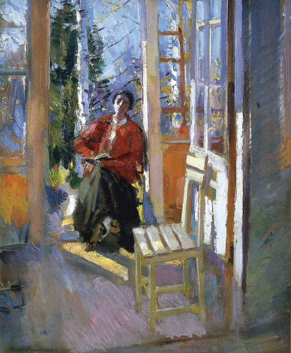 On the terrace, 1910–1919.. (577x700, 542Kb)