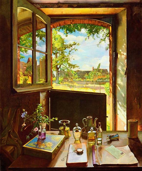 Сомов Константин Андреевич (Россия, 1869-1939) «Открытая дверь в сад» 1934 (581x700, 496Kb)