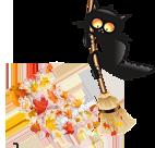 кот с метлой и листья (142x136, 45Kb)
