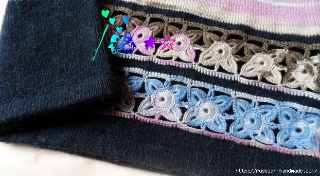 Декор длинного пуловера ажурным мотивом крючком (6) (658x361, 210Kb)