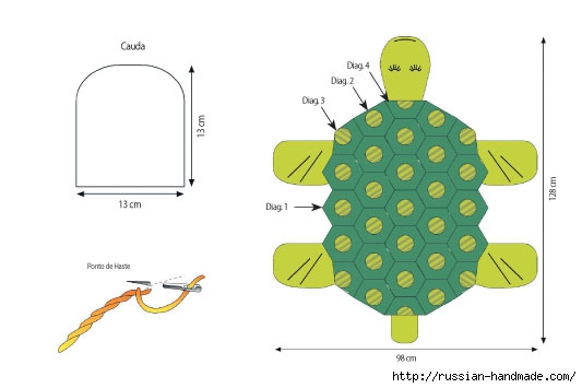 Вяжем крючком забавный коврик ЧЕРЕПАХУ (6) (533x355, 63Kb)