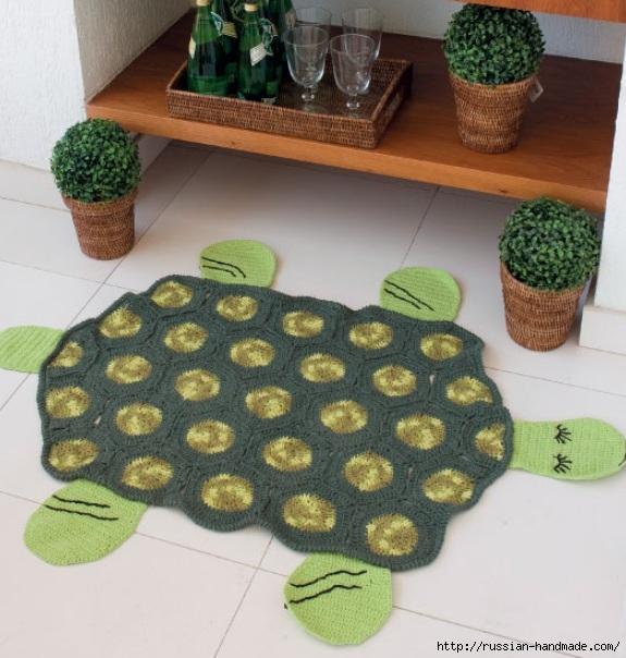 Вяжем крючком забавный коврик ЧЕРЕПАХУ (8) (575x604, 210Kb)