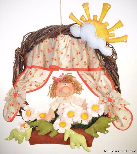 Цветы в окошке. Детский венок из веток с текстильной куклой и цветами (11) (523x591, 192Kb)