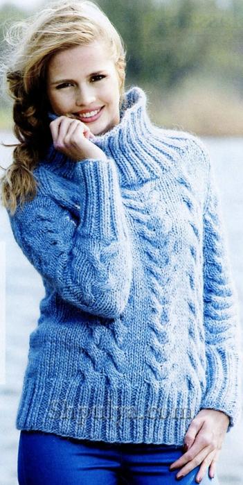 Голубой свитер с косами спицами, свитер спицами описание схемы, вязание свитера схема, свитер с косами спицами, вязание спицами для женщин с описанием, сайт о вязании, интернет магазин пряжи, купить пряжу из кашемира, www.SHPULYA.com/5557795_1543_1 (351x700, 234Kb)