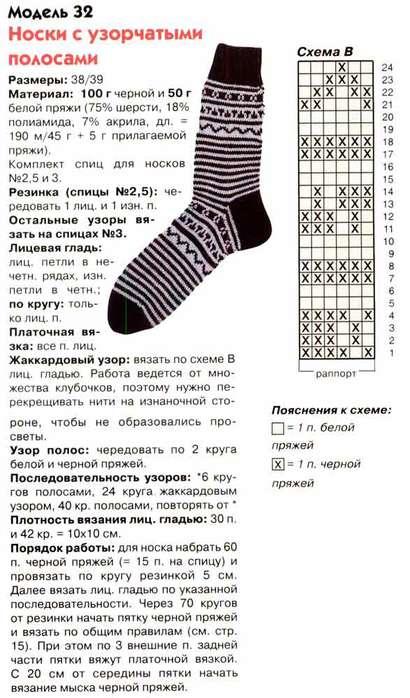 Вязание носков мужских с рисунком