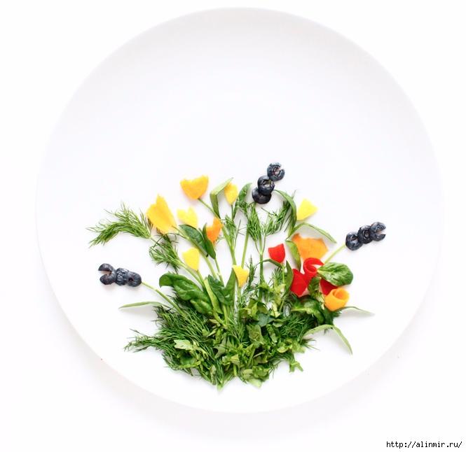 шедевры из остатков продуктов полевые цветы укроп красный перец базилик тыква черника (665x646, 159Kb)