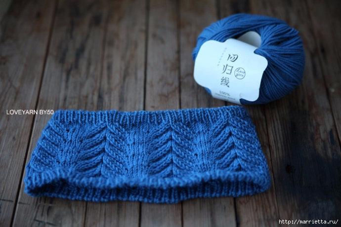 Зимняя повязка на голову спицами. Схема (3) (690x460, 182Kb)