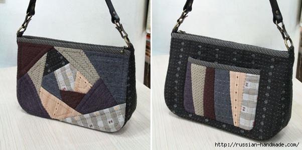 Лоскутная сумочка в технике пэчворк. Шаблоны (1) (602x299, 117Kb)