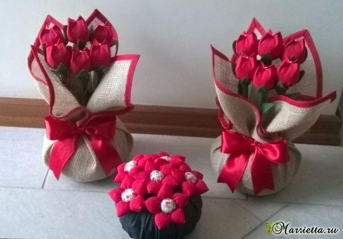Красные тюльпаны из ткани (1) (672x468, 236Kb)