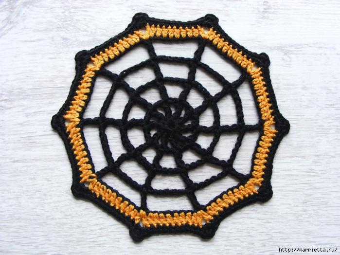 """钩针杯垫""""黑蜘蛛的蜘蛛网"""" - maomao - 我随心动"""