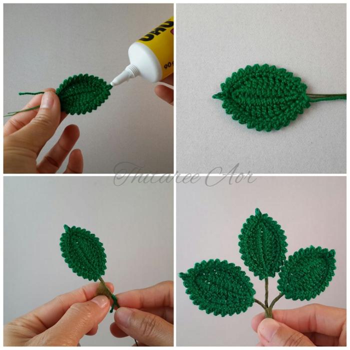 Схема вязания листика розы (1)